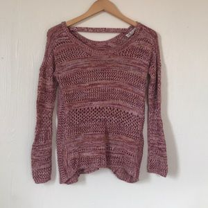 Pink Rose open knit sweater - Medium